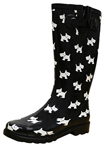Cambridge Select Women's Pattern Print Colorful Waterproof Welly Rain Boots,11 M US,Black/White Puppy ()
