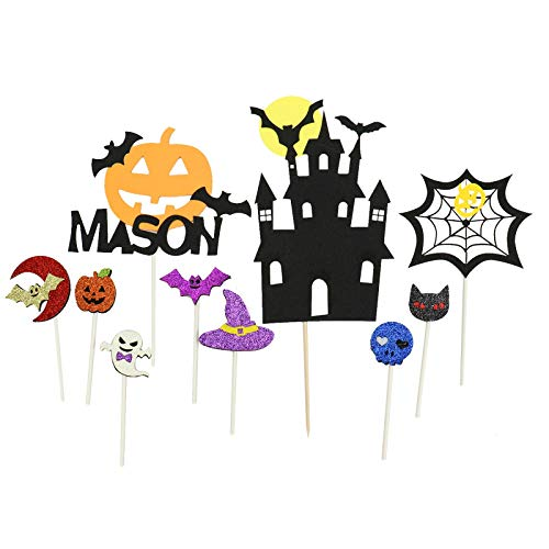 WSSROGY 10 Pcs Cute Glitter Halloween Cupcake Topper Bat Witch Ghost Star Cake Cupcake Topper Picks for Baby Shower Wedding Party Decorations