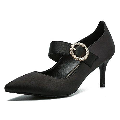 Ruanlei@Sexy de Tacones Altos/Clásicas Tacones Altos/Fashion - Cerrado Mujer/Tacones de Charol ElegantesElegante y versátil bajo Las Mujeres con Zapatos. black