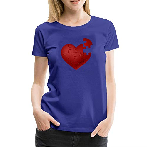 Love Heart Puzzle T-Shirt Novelty Graphic Cotton Womens Costume Funny T Shirt Blue XL -