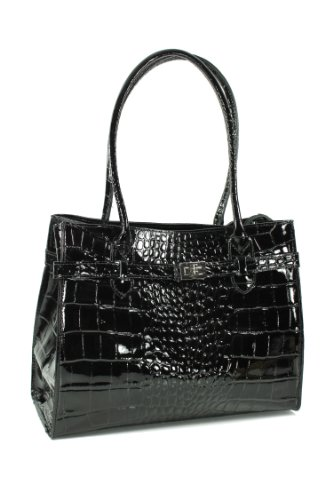 Belli exclusives Leder Set 3in1 schwarz lack - Echt Leder Handtasche + Kosm. Tasche + Pashmina/Viskose Tuch