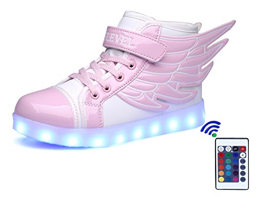 SLEVEL 16 Colors LED Light Up Shoes USB Flashing Sneakers for Kids Boys Girls(1100SPink25)