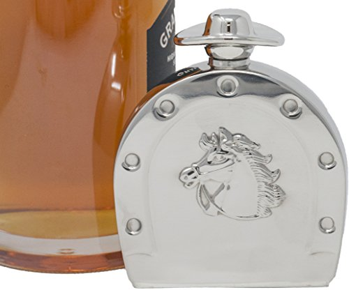 Premium 6 oz Horseshoe With Cowboy Motif 304 (18/8) Food Grade Stainless Steel Hip Alcohol Liquor Flask - BPA free and Leak and Rust Proof - Discrete Drinking Gift ()
