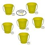 ITALIA 6-Pack Metal Bucket Color Yellow Size 5.6 X 6