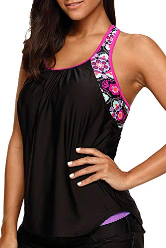 Astylish Swim Tankini Tops for Women Blouson Floral T-Back Push Up Swim Top Swimsuit Tops Bathing Suit Tops Swimwear Top Beachwear for Ladies Juniors X-Large 14 16 Black