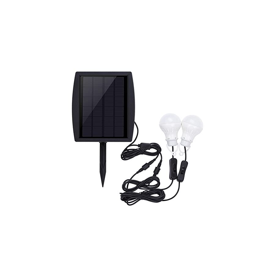 Hansuo Portable Solar Panel 2 LED Bulbs Lights,outdoor Solar Energy Lamp Lighting for home Hiking Camping Tent Fishing & Other Outdoor Activities