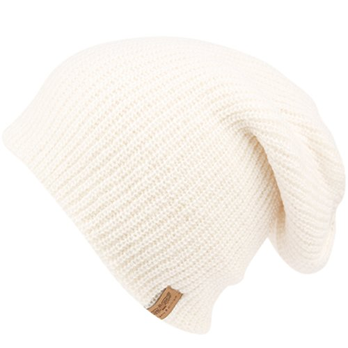 ANGELA & WILLIAM Men's Basic Reversible Slouch Beanie- Long Hipster Oversized Ribbed Knit Winter Skull Hat (White) ()