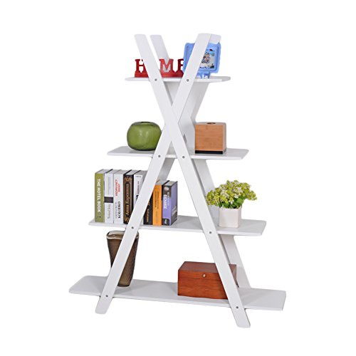 Facilehome 4-Tier X Shape Bookshelf Bookcase 4 Racks for Books,Potted Plant,MDF Wood,White