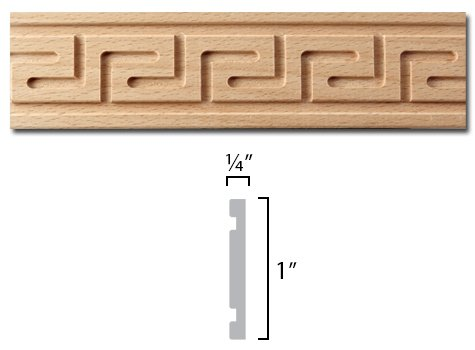 Greek Key Molding - Carved Greek Key Moulding - 8 ft. Stick in European Beech - Dimensions: 1 x 1/4 x 96 inches
