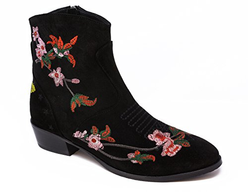 BOBERCK Anastassia Colection Women's Floral Embroidered Ankle Boot (5 US, Black)