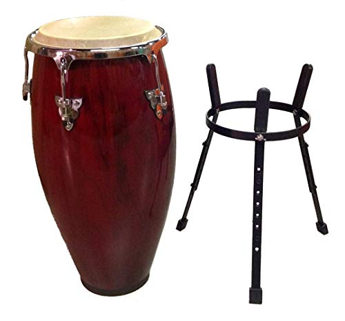 Conga DRUM 11'' + STAND - RED WINE -World Percussion NEW! by Unknown (Image #2)