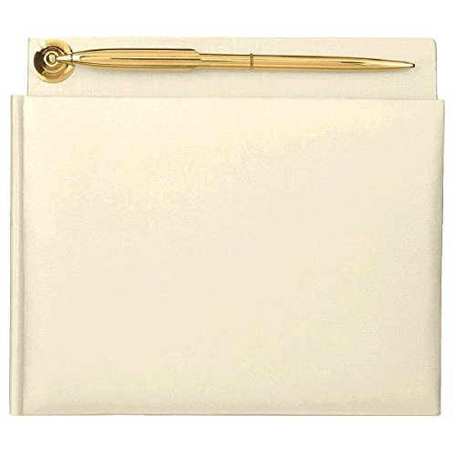 (Amscan Ivory Pearlized Guest Book with Gold Electroplated Pen | Wedding and Engagement)