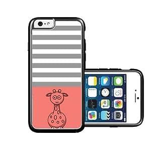 RCGrafix Brand Giraffe coral & Grey Stripes Black iPhone 6 Case - Fits NEW Apple iPhone 6