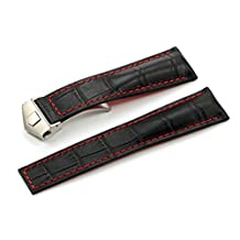 iStrap Watch Band 22/18mm Cowhide Leather Strap Deployment Watch Band Fit TAG HEUER Carrera Monaco (Black Red with Buckle)