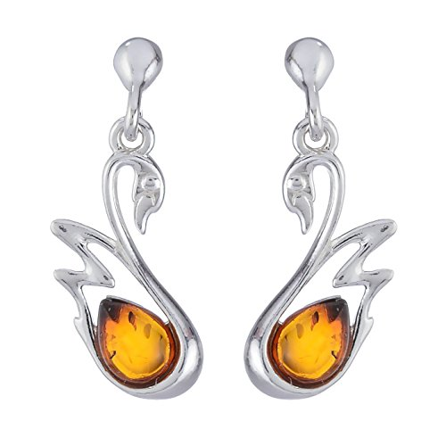 """Sterling Silver and Baltic Honey Amber Earrings """"Swan"""""""