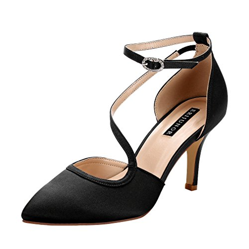 (ERIJUNOR E1706 Women Comfortable Low Heel Ankle Strappy Dress Pumps Pointed Toe Satin Wedding Evening Party Shoes Black Size 10)
