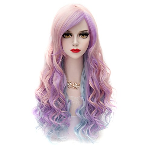 [Cosplay Wig Neat Bangs Long Curly Hair Costume Party Wigs Multi-Color (Pink-Purple-Blue, Sideswept] (Purple Wig Costumes)