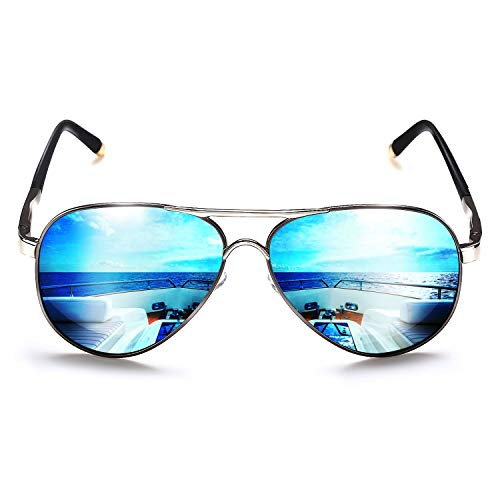 ROCKNIGHT Aviator Polarized Sunglasses for Men Women Metal Frame Flat Top Sunglasses Lightweight Blue Mirror Lens UV400 ()