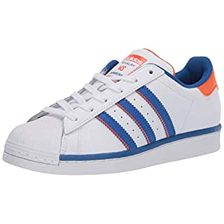 adidas Originals Men's Super Star Sneaker, White/Blue/Orange, 7.5