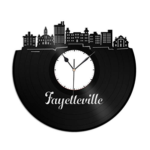 VinylShopUS - Fayetteville AR Vinyl Wall Clock City Skyline Unique Gift Office and Bedroom | Room Decoration -