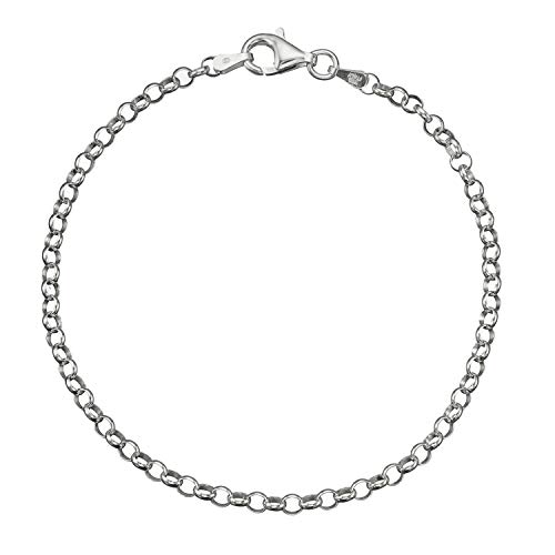 - Solid 925 Sterling Silver 3.2mm Italian Round Rolo Cable Link Chain Bracelet - 8