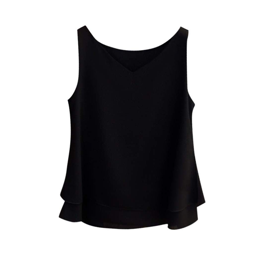 Keliay Womens Tops for Summer,Women's Summer Sleeveless Chiffon Shirt Solid V-Neck Casual Blouse Top Black