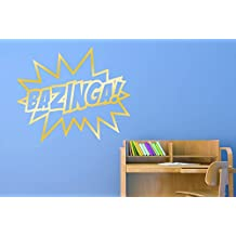 Bazinga Sheldon Quote From The Big Bang Theory Wall Stickers Art Decals - Large (Height 57cm x Width 68cm) Shiny Gold