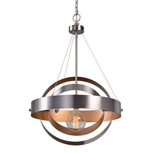 Modern Geometric Silver Copper Circle Pendant Light | Bronze Interlocking Metal Spheres Hanging Chandelier