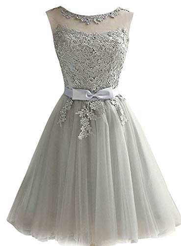 EileenDor Women's Short Tulle Prom Dresses Grey Graduation Lace Knee Length Junior Bridesmaid Dresses Size 2