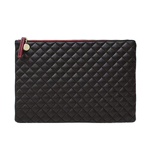 NIGEDU Quilted Diamond Pattern Women Day Clutch PU Leather Clutches Ladies Envelope Bag Luxury Party Evening Bags Large Purse (Black)