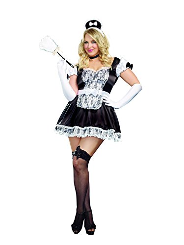Valentine Size Plus Costumes (Dreamgirl Women's Sexy Plus Size Maid Costume, Black,)