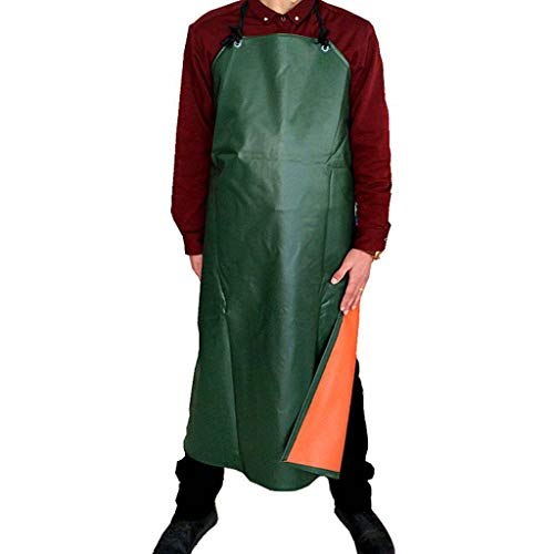 - PVC Waterproof Covered Leather Waist Apron, Men Ms Anti-Oil Restaurant Hotel Cooking Water Factory Work Clothes-Army Green Thickening and lengthening