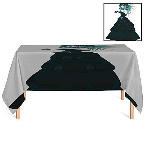 SATVSHOP Kitchen Tablecloth /60x84 Rectangular,Girly Sugar Skull Girl with Prom Dress Roses in Hand Gothic Halloween Lady Zombie Vampire Image Green White.for Wedding/Banquet/Restaurant.]()