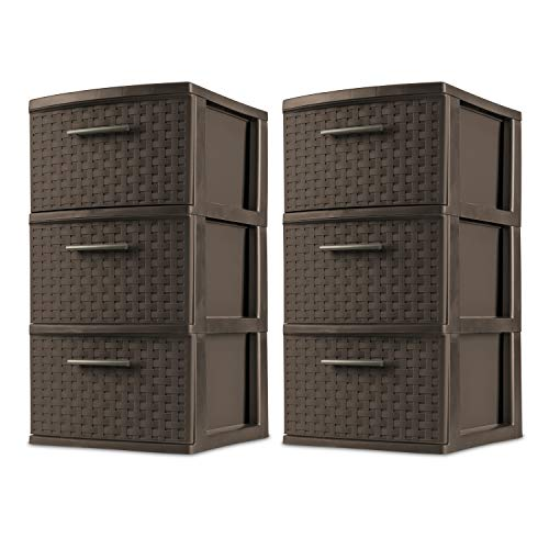 Sterilite 26306P02 Decorative 3-Drawer Storage Weave Tower, Espresso