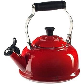 Le Creuset Enamel-on-Steel Whistling 1-4/5-Quart Teakettle, Cerise (Cherry Red)