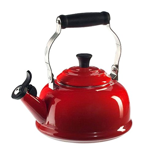 Cerise Red Ceramic - Le Creuset Enamel-on-Steel Whistling 1-4/5-Quart Teakettle, Cerise (Cherry Red)