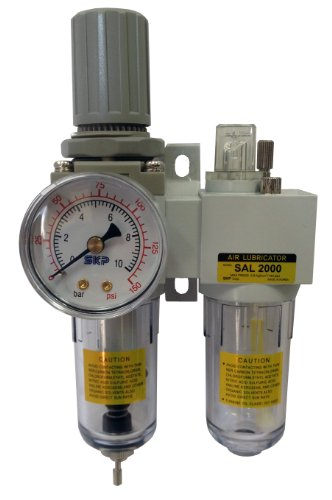 PneumaticPlus SAU2010M-N02DG Mini Two-Unit Compressed Air Filter Regulator Lubricator Piggyback Combo 1/4