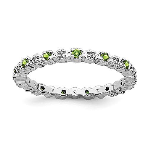 925 Sterling Silver Green Peridot Diamond Band Ring Size 8.00 Stone Stackable Gemstone Birthstone August Fine Jewelry Gifts For Women For Her