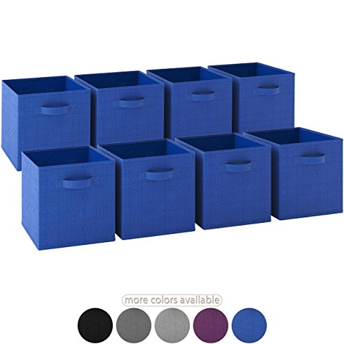 Chest Up Pop Storage (Royexe LAUNCH SALE - Storage Cubes | [Set of 8] Foldable Fabric Bins | Features Dual Handles | Collapsible Organizer Storage Baskets| Folding Closet Drawer Cube. (Blue))