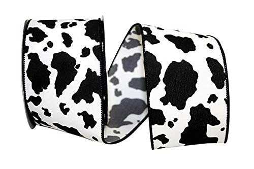 Reliant Ribbon 92616W-984-40F Cow Print We Rd Ribbon, 2-1/2 Inch X 10 Yards, Black/White