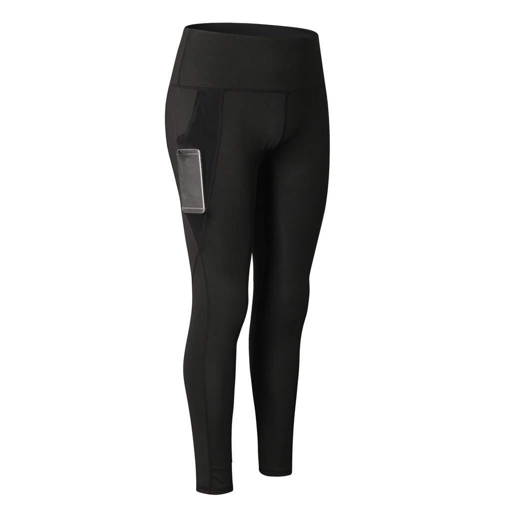 NUWFOR Women's Fashion Workout Leggings Fitness Sports Running Yoga Athletic Pants(Black,XS US Waist:25.2'')