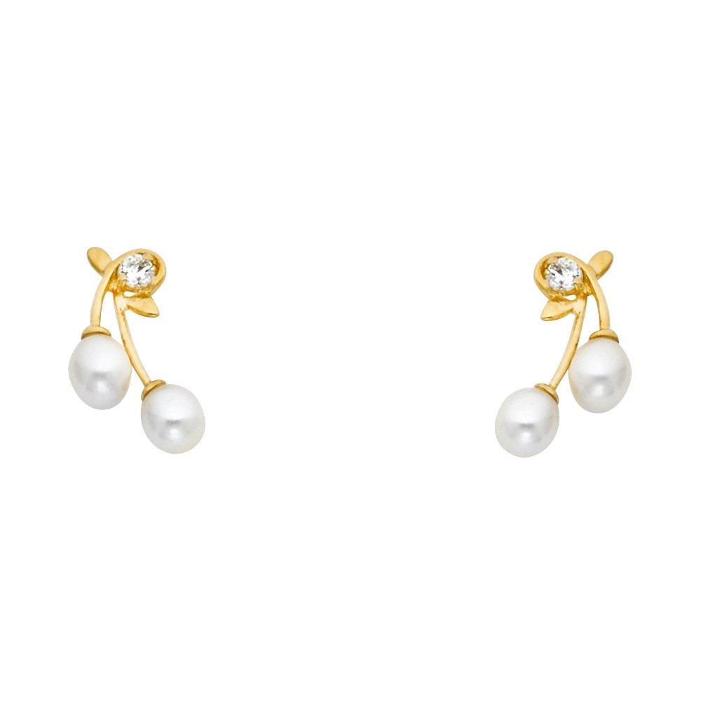 Ioka 14K Yellow Gold CZ Freshwater Cultured Pearl Screw Back Stud Earrings