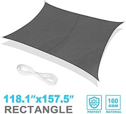 RATEL Toldo Vela de Sombra Rectangular Gris 3 x 4 m, protección 95 ...