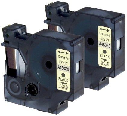 10 Nastri D1 45023 nero su oro 12mm x 7m Etichette compatibili per DYMO LabelManager LM 100 150 160 200 210D 260 280 300 350 350D 360D 400 420P 450 500TS PC PC2 PnP LabelWriter LW 400 450 Duo