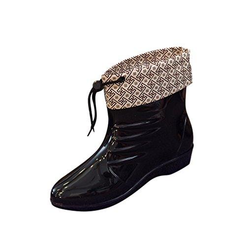 de Zapatos Mujer Casual Lluvia de Chelsea Bota Moda Impermeable Xinwcang Negro Agua Botas AqwPOB5