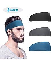 Heren hoofdband (3-delige verpakking), zweetband & sport hoofdband voor hardlopen, fietsen, yoga, basketbal - stretchy moisture Wicking Unisex haarband