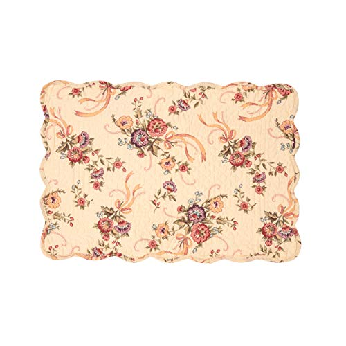 C&F Home Alisha Floral Flower Bouquet Place Mats Rectangular Cotton Quilted Reversible Washable Placemat Set of 6 Rectangular Placemat Set of 6 Alisha