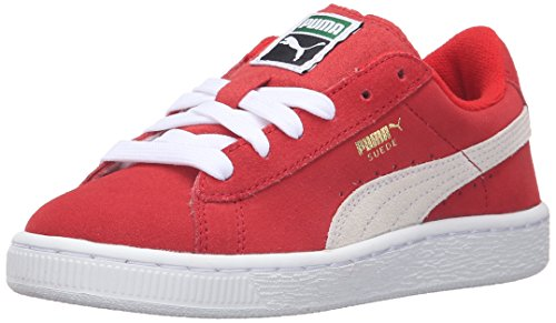 PUMA Suede PS Sneaker, High Risk Red/White, 2.5 M US Little Kid]()