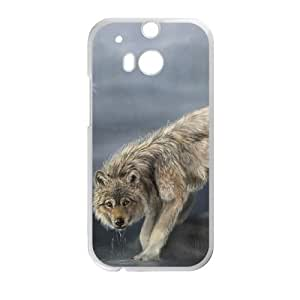 wolf drinking water painting HTC One M8 Cell Phone Case White PSOC6002625700840