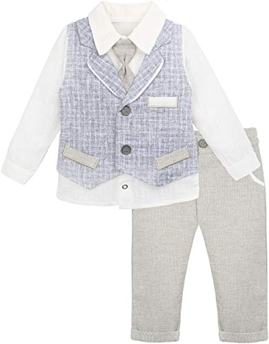 Lilax Baby Boys Gentleman Outfit Long Sleeve Shirt with Vest and Pant 3 Piece Set 9M Beige